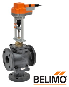 "G7100+RVB24-3 Globe Valve (H), 4"", 3-way, ANSI Class 125, Cv 190  Valve Actuator, Non fail-safe, AC/DC 24 V, On/Off, Floating point"