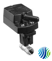 VG1241AE+943AGB Model VG1241AE Two-Way Plated Brass Trim NPT End Connections Ball Valve with Model VA9203-AGB-2Z Spring-Return Closed with One Switche Electric Actuator