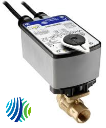 VG1241AF+943BUA Model VG1241AF Two-Way Plated Brass Trim NPT End Connections Ball Valve with Model VA9203-BUA-2 Spring-Return Closed without Switche Electric Actuator