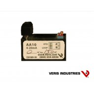 AA10F1: Veris Transmitter converts 100 ohm platinum RTD to 4-20mA output. Scaled -58 to 122°F.