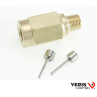 AA11 Brass snubber valve prevents transients from damaging wet media pressure sensors.