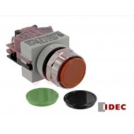ABW101: Idec Switch, Pushbutton; Momentary; 1NC; Black-Green-Red Flush buttons; IP65; 5mA@3V AC/DC