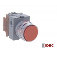 ABW110: Idec Switch, Pushbutton; Momentary; 1NO; Black-Green-Red Flush buttons; IP65; 5mA@3V AC/DC