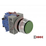 ABW111: Idec Switch, Pushbutton; Moment.; 1NO-1NC; Black-Green-Red Flush buttons; IP65; 5mA@3VAC/DC