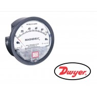 "2000-0AV: DWYER Differential pressure gage, range 0-0.50"" w.c., velocity 500-2800 FPM, calibrated for vertical scale position."