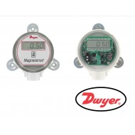 "MS-821-LCD: Dwyer Differential pressure transmitter, 5V output, 12V input, selectable range ±0.1"", 0.25"", 0.5"" w.c. (±25, 50, 100 Pa), panel mount, with LCD."